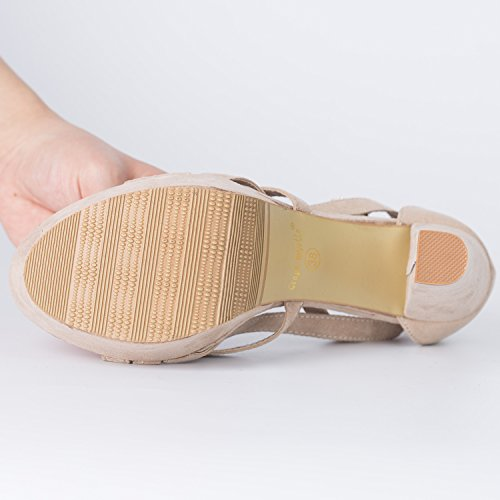Oasap Damen Veloursleder Mit Riemen Hohe Absätzen Sandaletten Nude