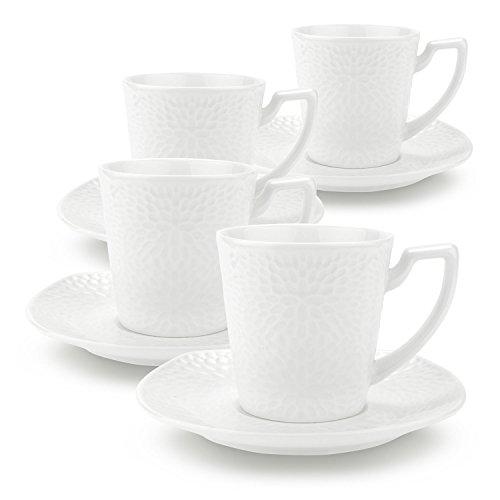 Rachel's 90ml Tournesol (S)La Tasses de Café et Soucoupe en Porcelaine délicat et Résistant 1 paquet de 4