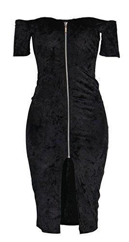 Minetom Femmes Sexy Slim Épaule Dénudée Fermeture éclair Avant Soirée Bodycon Crayon Robe Party Club Dress Noir