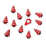 12 kleine rot weiß gepunktete Mini-Weihnachtsbäume BAUM GEPUNKTET Holz 3 cm zum Basteln an Weihnachten mit Klebepunkt zum Aufkleben auf weihnachtliche Geschenke Tisch-Deko Streu-Teile