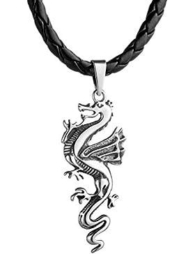 STERLL Herren Hals-Kette Leder Drachen Anhänger Silber 925 schwarz Schmuck-Beutel edle Geschenke für Männer