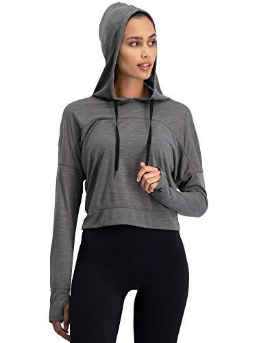 Jolt Gear Dry Fit Crop Tops für Frauen - Langarm Crop Top Hoodie - Damen Workout Pullover Top mit Daumenlöchern, Damen, Mid-Town Grey, Medium