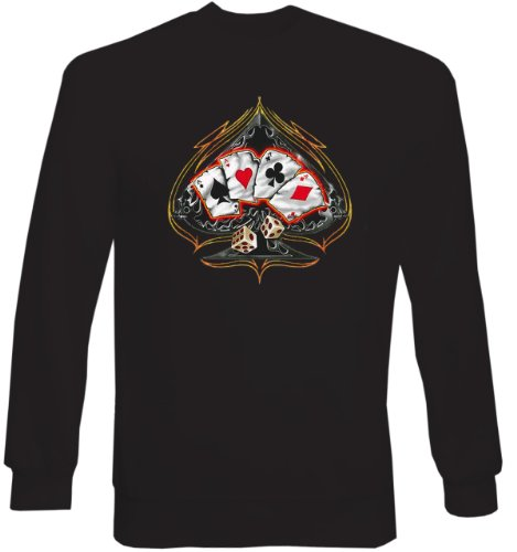 Casino Poker Cards Sweat-Shirt ::: Spade four of a kind Poker ::: mit US-Motiv
