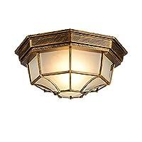 HhGold Waterproof Glass Ceiling Light,E27 Base Vintage Flush Mount Shades Ceiling Mount Light Fixture Bedroom Living Room Hallway Aisle-D29xH12cm (Color : D29xh12cm, Size : -)