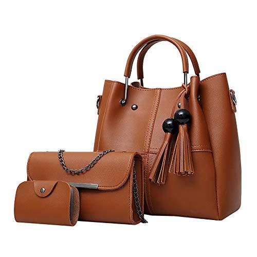 TianWlio Handtasche Damen 3 Stücke Mode Leder Quaste Umhängetasche Crossbody Tasche Karte Tasche Für Frauen Mädchen Braun