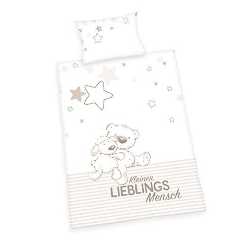 Herding Jana Lieblingsmensch Bettwäsche-Set, Baumwolle, weiß, 100 x 135 cm