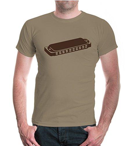 buXsbaum® T-Shirt Mundharmonika Khaki-Brown