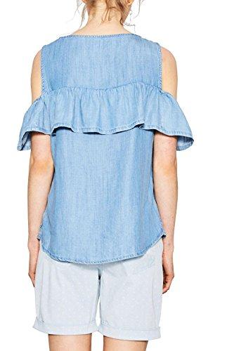edc by ESPRIT Damen Bluse Blau (Blue Light Wash 903)