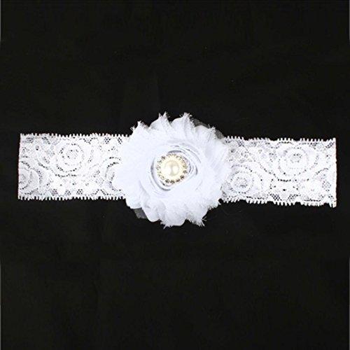 Stirnbänder Transer® Baby Mädchen Stirnband Halten Kopf Tuch Blume Sterne Haarband Babyschmuck Babygeschenke & Taufe Größe: 18cm * 4cm (Weiß)