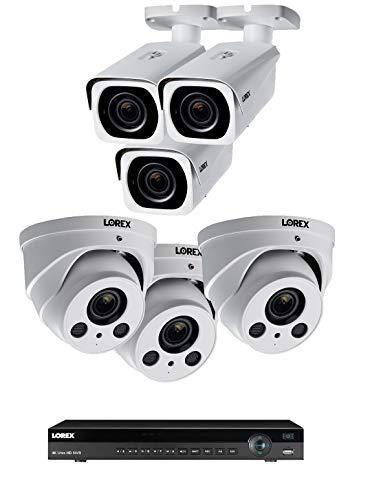 Lorex 8mp 4K Ultra HD Ip 2 HDD Slot NVR-System mit 4K Lnb8963Bw Ip Kugel Und 4K Lne8964Ab Audio Ip-Dome-Kameras Paket 6 Kameras w / 8 Ch NVR Weiß (Lorex-sicherheit Ip-kamera-system)