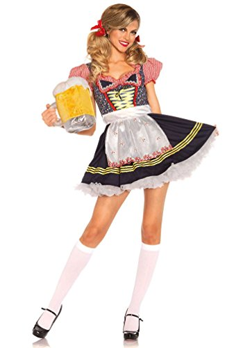 Karneval-Klamotten Kostüm Dirndl Trachten-Kleid Damen blau Luxus Oktoberfest Dirndl kurz Bayern-Kleid Tirolerin Damenkostüm 34/36