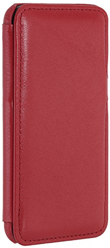 StilGut Book Type Case con clip, custodia in pelle cover per iPhone 7 (4,7) Chiusura a libro Flip-Case in vera pelle, Blu Scuro Nappa Rosso Nappa