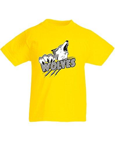 Wolves, Kind-druckten T-Shirt - Gelb/Transfer 5-6 Jahre (Dog Snapper)