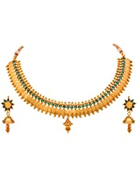JFL - Traditional Ethnic One Gram Gold Plated Temple Laxmi Goddess Stone Designer Necklace Set With Jhumka Earring...