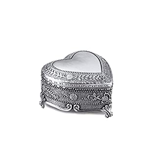Feyarl Jewelry Box with Antique Heart Shape Engraved Trinket Treasure Organizer Box for Ring Earrings