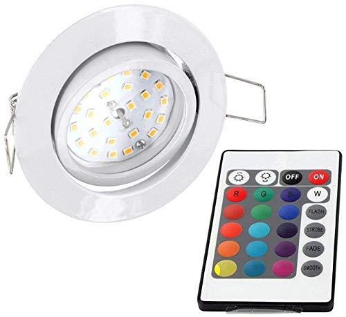 LED RGB Slim Spot Einbaustrahler 230V schwenkbar - mit Fernbedienung - Farbwechsel - 3-stufig dimmbar (weiß) -