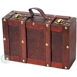 vintiquewise antiguo maleta con correas, envejecido Cherry, pequeño