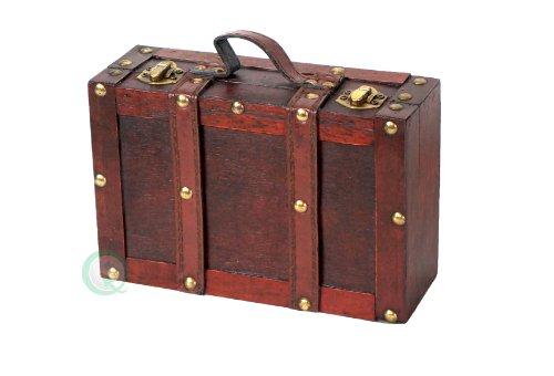 Vintiquewise altmodischen Koffer mit Träger, Antique Cherry, klein