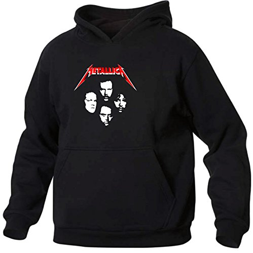 Art T-shirt, Felpa Con Cappuccio Metallica Faces, Uomo, Nero, XL