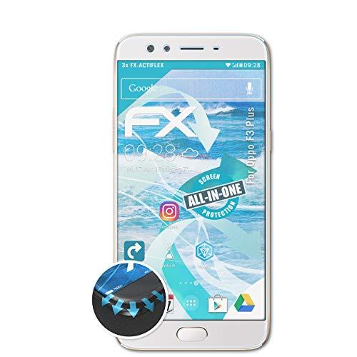 atFolix Schutzfolie passend für Oppo F3 Plus Folie, ultraklare & Flexible FX Bildschirmschutzfolie (3X)