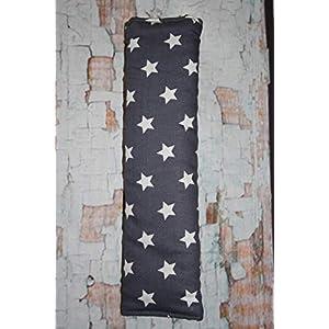 Auto Gurtpolster für Kinder und Erwachsene grau mit weißen Sternen Stars Sternchen
