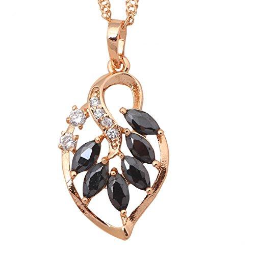 Bling fashion nero onice Foglia Reale Placcato Oro 18K zirconi AAA Fashion Jewelry collane ciondoli per Lady ln416a