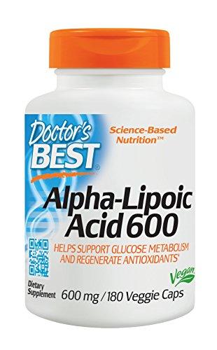 Doctor's Best   ácido alfa-lipoico   600 mg   180 cápsulas veganas   sin gluten y soya
