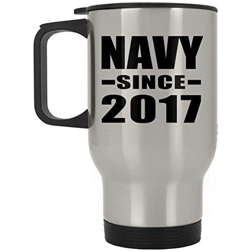Navy Since 2017 – Reisebecher aus Edelstahl mit isoliertem Deckel – Beste lustige Gag Geschenkidee für Freunde, Geburtstag, Bday, Weihnachten, Verlobung, Hochzeit, Jahrestag