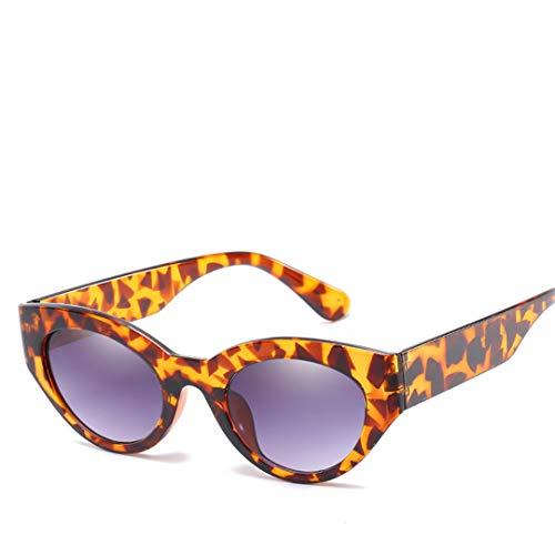 DAIYSNAFDN Leopard Cat Eye Sonnenbrillen für Frauen Vintage Classic Design Brille Outdoor Leopard Double Gray