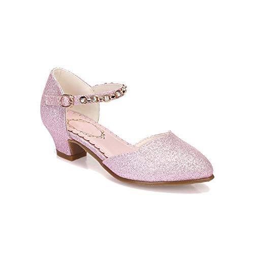 Mädchen-Absatz-Sandelholz-Kinderschuhe Sommer-Mädchen Sandalen Kinder Party Hochzeit Eleganter Schuh, Rosa, 3.5 (Breite Extra Kunststoff-wrap)