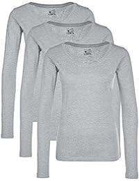 Berydale T-shirt à manches longues pour femmes à encolure ronde, lot de 3