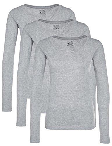 Berydale Damen für Sport & Freizeit, Rundhalsausschnitt Langarmshirt, 3er Pack, Grau (Grau), X-Large