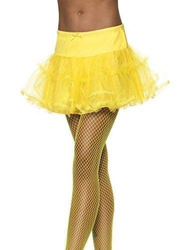 Kostüm Damen Tüll Petticoat Tütü Ballettröckchen Burlesk Schwarz Weiß Rot Blau Grün Orange Gelb Rosa - Einheitsgröße (passt 36-14), Gelb