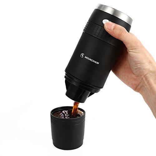 Mounchain Portable Kaffeemaschine, Mini Portable 1-Tassen Kaffeeautomat, Kaffee-Becher, für K-cup Kapseln und Kaffeefilter
