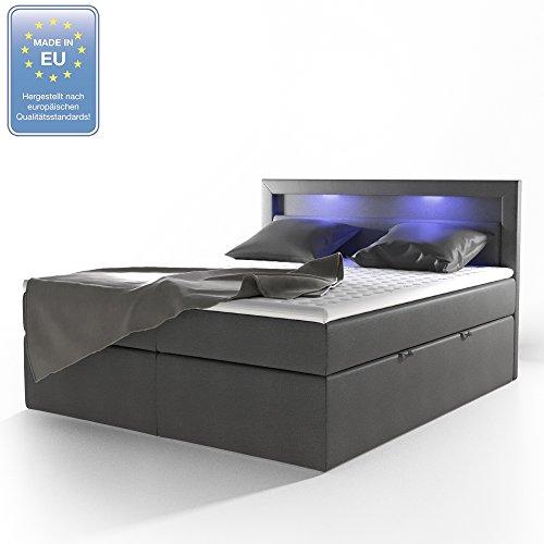Design Boxspringbett LED Doppelbett Bett Hotelbett Ehebett 180x200 cm anthrazit -