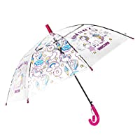 Unicorn Clear Umbrella for Kids Boys,Girls, Auto Open Umbrella Windproof for Outdoor -Weddings - Birthday Present - Christmas Gift - Party - Back to School