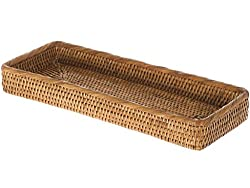 Kouboo La Jolla Elongated Rattan Vanity Tray, Honey-brown