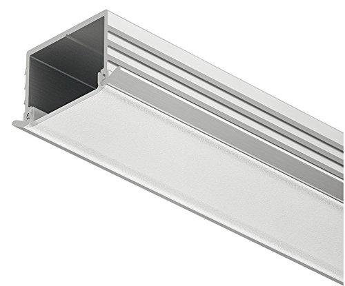 Profil en aluminium d'Loox Profil 2500 mm profil LED encastrable Barre pour ruban LED | Auminium Argent anodisé | Diffuseur laiteux Transparent | gedotec® Powered by HÄFELE, Aluminium silber eloxiert, 1 Stück - Streuscheibe milchig