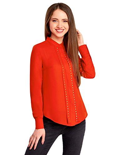oodji Collection Femme Blouse Décorée de Strass Métalliques Rouge (4500N)