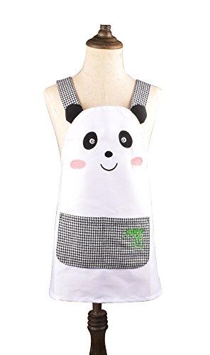 Süße Mädchen Jungen Kleinkind Kids Weiß Schürze Cartoon Panda Muster Küche Kochen Backen Schürze mit Taschen (2bis 5Jahre)