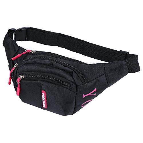 Wasserdichte Gürteltasche Bauchtasche 3 Reißverschluss Taschen Wandern Outdoor Sport Hüfttasche Urlaub Geld Pouch Pack (Rose rot-1)