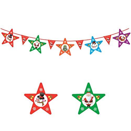 Hosaire 1x Doppelseitiger Druck Banners Kreative Pentagramm Weihnachts Szene dekorations Flagge Weihnachten Requisiten Lang 3m (25 * 25cm)