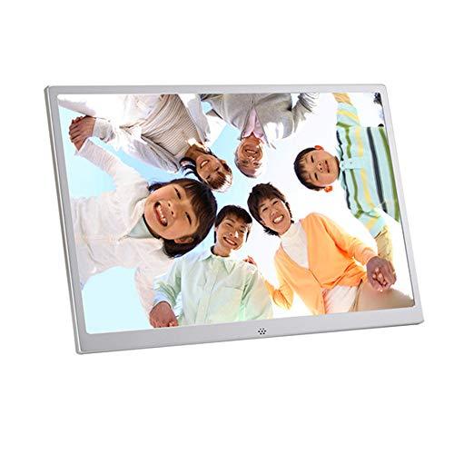 Digital Photo Frame 15,4 Zoll 1080P Electronic Photo Frame USB SD/SDHC, Uhren-und Kalenderfunktionen Digital Photo Frame Metall-Aluminium-Legierung ultradünnen schmalen Rahmen,White (Photo Touch-screen Digital Frame)