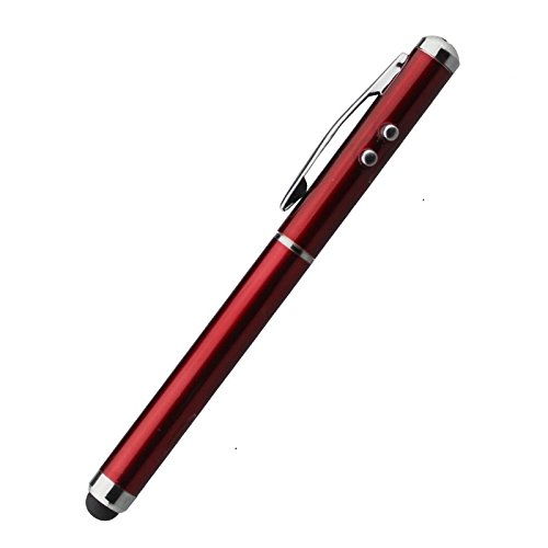 Mit Extra Licht Mini (Multifunktions Eingabestifte Stylus Pen, LED, Taschenlampe, Kugelschreiber, Punkt Licht, für alle Smartphones Geräte mit kapazitiven Touchscreen Handy PDA Tablet PC (Rot))