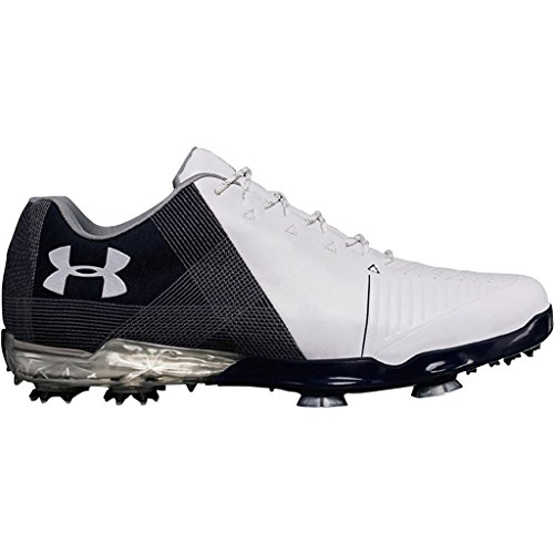 Under Armour 2018UA Spieth 2impermeabile, scarpe da golf Spikes–Wide Fit, Uomo, White/Academy/Steel, Wide - 7.5 UK/EUR 42 / US 8.5