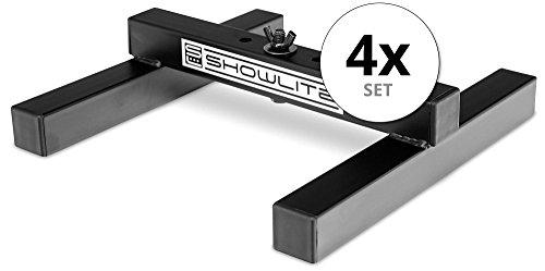 4er Set Showlite FLS-10 PAR Licht Bodenstative (Bodenstative zum Aufstellen von Scheinwerfern, Grundfläche 26 x 25,5 cm, 6 cm hoch, stabile Konstruktion, ineinander stapelbar) Schwarz -