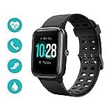 Huyeta Smart Watch mit Pulsmesser 1,3 Touchscreen Sport Uhr Smart Uhr 5ATM Wasserdicht Fitness Tracker Aktivitätstracker Pulsuhren mit Kalorienzähler Schlafmonitor Damen Herren für IOS Android