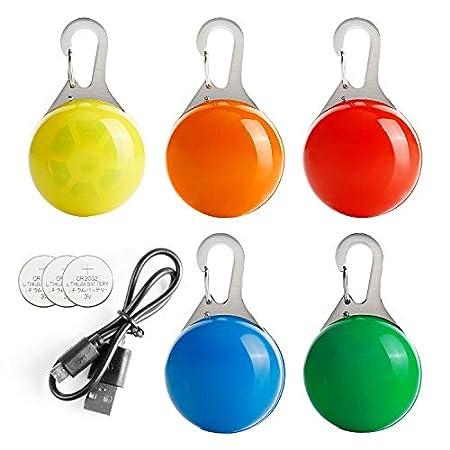Toozey 2 Pcs Wiederaufladbar Hund Leuchtanhänger +3 Pcs Batterie Blinklicht Schulranzen Hundehalsband Licht – 3 Blinkmodi für Läufer, Radfahrer, Nachtwandern – Anschnallen