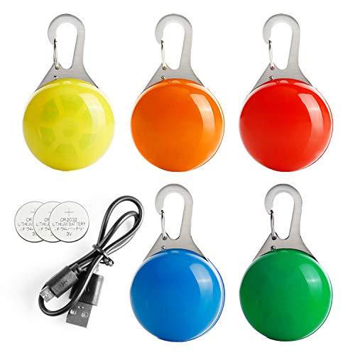 Toozey 2 Pcs Wiederaufladbar Hund Leuchtanhänger +3 Pcs Batterie Blinklicht Schulranzen Hundehalsband Licht - 3 Blinkmodi für Läufer, Radfahrer, Nachtwandern - Anschnallen