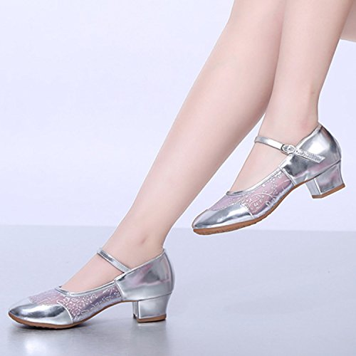 Oasap Women's Fashion Mesh Panel Buckle Block Heels Dance Shoes Silver